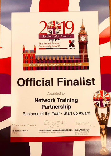 Network Training Partnership has been nominated as a finalist in the Business of the Year category for the Soldiering On Awards
